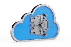 Wiedergabe 3d Wolke 3d mit sicherer Tür Stockbild