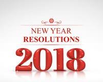 Wiedergabe der Beschlüsse 3d neuen Jahres des rote der Farbe 2018 auf weißem Bolzen Stockfotografie