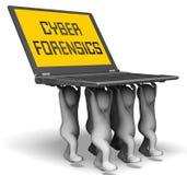Wiedergabe der cyber-Kriminalistik-Computerkriminalitäts-Analyse-3d Stockfoto