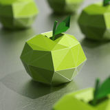 Wiedergabe der Lowpoly-Apfelfrüchte 3D Lizenzfreie Stockbilder