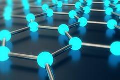 Wiedergabe der sechseckigen geometrischen Formnahaufnahme der abstrakten Nanotechnologie, Konzeptgraphen-Atomstruktur, molekular Stockfoto