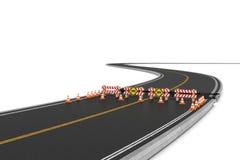Wiedergabe der Straße schloss mit Sperren, Verkehrskegel und die Vorsichtzeichen wegen der Straßenarbeitenablenkung Stockbild