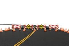 Wiedergabe der Straße schloss mit Sperren, Verkehrskegel und die Vorsichtzeichen wegen der Straßenarbeitenablenkung Stockfotografie