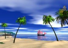 Wiedergabe des blauen Wassers schönen Strand Whit und des blauen Himmels 3d Lizenzfreie Stockbilder