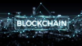 Wiedergabe des Blockchain-Verbindungshintergrundes 3D Lizenzfreies Stockbild