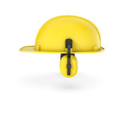 Wiedergabe des gelben Sturzhelms mit den Kopfhörern lokalisiert auf dem weißen Hintergrund Lizenzfreies Stockbild