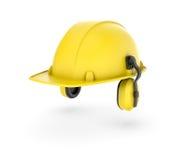 Wiedergabe des gelben Sturzhelms mit Kopfhörern auf dem weißen Hintergrund Lizenzfreies Stockbild