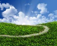 Wiedergabe des grünen Grases, der Straße und der Wolken 3D lizenzfreie abbildung