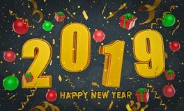 Wiedergabe 2019 des guten Rutsch ins Neue Jahr-Hintergrundes 3d stockfotos