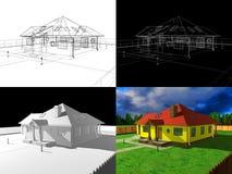 Wiedergabe des Hauses 3D, Projekt 3d Stockfotos