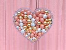 Wiedergabe des Herzformgoldweiße rosa metallische Balls 3d stock abbildung