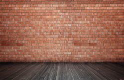 Wiedergabe des Innenraums mit Wand und Bretterboden des roten Backsteins Stockbilder