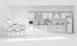 Wiedergabe des Kücheninnengitters 3D Lizenzfreie Stockfotos