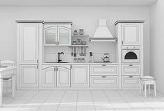 Wiedergabe des Kücheninnengitters 3D Stockbilder