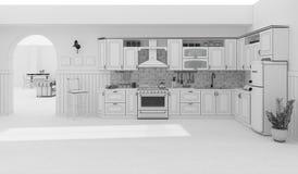 Wiedergabe des Kücheninnengitters 3D Stockfoto