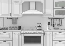 Wiedergabe des Kücheninnengitters 3D Stockfotografie