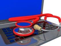 Wiedergabe des Laptop-PC-Service-Gesundheitsstethoskops -3d Stockfotografie