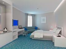 Wiedergabe des Schlafzimmers 3d, Hotelzimmer Stockfotos