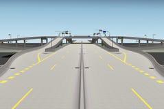 Wiedergabe des Straßenbrückenschnitts 3d Stockfoto