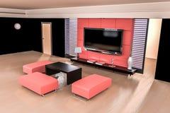 Wiedergabe des Wohnzimmers 3D stockfotos