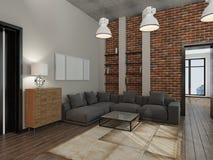 Wiedergabe des Wohnzimmers 3D stockbilder