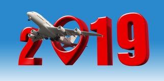 Wiedergabe des Zeichens d des neuen Jahres des Fotoflugreisekonzeptflughafenzeigers auf Lager stock abbildung
