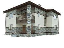 Wiedergabe eines Landhauses Stockfoto