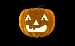 Wiedergabe Laterne 3d Halloween-Kürbis-Jacks O lokalisiert auf schwarzem Hintergrund mit Platz für Text Lizenzfreie Stockfotos