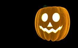 Wiedergabe Laterne 3d Halloween-Kürbis-Jacks O lokalisiert auf schwarzem Hintergrund mit Platz für Text Lizenzfreie Stockbilder