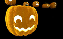 Wiedergabe Laterne 3d Halloween-Kürbis-Jacks O lokalisiert auf schwarzem Hintergrund mit Platz für Text Lizenzfreies Stockfoto