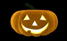 Wiedergabe Laterne 3d Halloween-Kürbis-Jacks O lokalisiert auf schwarzem Hintergrund mit Platz für Text Stockfotos