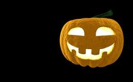 Wiedergabe Laterne 3d Halloween-Kürbis-Jacks O lokalisiert auf schwarzem Hintergrund mit Platz für Text Lizenzfreies Stockbild