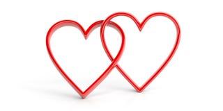 Wiedergabe verbindende Herzen 3d auf weißem Hintergrund vektor abbildung