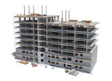 Wiedergabe von mit Baugerüst und unterschiedlicher Ausrüstung im Bau errichten Stockbild