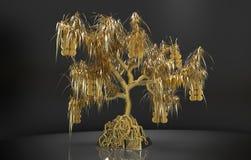 Wiedergabegoldbaum mit Blättern und Münzen, wachsender Goldbarren Lizenzfreies Stockfoto
