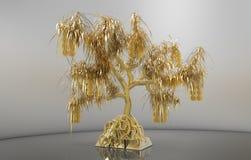 Wiedergabegoldbaum mit Blättern und Münzen, wachsender Goldbarren Stockfotografie