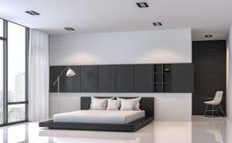 Wiedergabeinnenbild der Art 3d des modernen Schwarzweiss-Schlafzimmers minimales Stockfotografie
