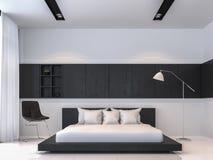 Wiedergabeinnenbild der Art 3d des modernen Schwarzweiss-Schlafzimmers minimales Lizenzfreies Stockbild