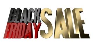 Wiedergabeisolat Black Friday-Verkaufs 3d auf Weiß Stockbilder