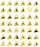 Wiedergabesatz der Verkehrsschilder 3d (Warnzeichen) lizenzfreie abbildung