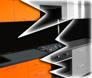 Wiederherstellung von Möbeln Leuchtorangeküche unter einem Schwarzweiss Lizenzfreie Stockfotografie