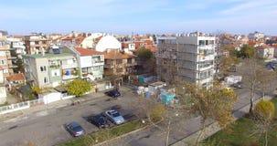 Wiederherstellung von sowjetischen hohen Gebäuden im alten Pomorie, Bulgarien stockbild