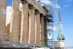 Wiederherstellungsarbeit am Parthenon, Athen stockfoto