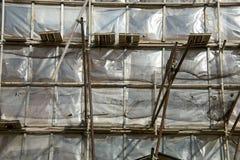 Wiederherstellungsfassade des Altbaus Stockfotos