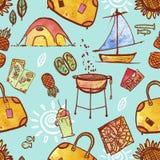 Wiederholen der Muster-Illustration der Reise-und Ferien-Ikonen Stockfoto