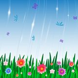 Wiederholen der Musterfliese mit Blumen und Insekten Stock Abbildung
