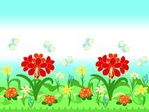 Wiederholen des Musters mit roten Amaryllisblumen Lizenzfreies Stockfoto