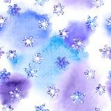 Wiederholen des Wintermusters mit Schneeflocken auf Fleck Watercolour Stock Abbildung