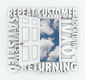 Wiederholen Sie zuverlässigen Kunden Loyal Satisfied Customer Open Doors Lizenzfreies Stockbild