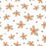 Wiederholen von abstrakten Blumen und von rundem Punkt Einfaches nahtloses mit Blumenmuster Lizenzfreies Stockfoto